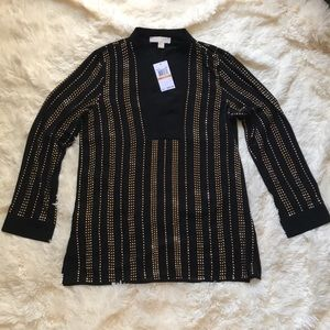 NWT Michael Kors Black Gold Stud Split Neck Tunic
